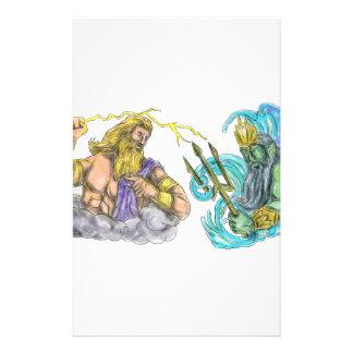 Papelaria Raio de Zeus contra o tatuagem de Poseidon Trident