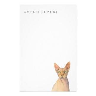 Papelaria Retrato da aguarela do gato de Sphynx com nome