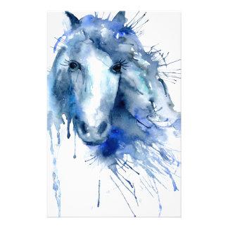 Papelaria Retrato do cavalo da aguarela com splatter da