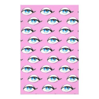 Papelaria Rosa do teste padrão de olhos azuis