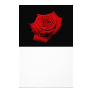 Papelaria Rosa vermelha no fundo preto