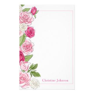 Papelaria Rosas cor-de-rosa & brancos florais personalizados