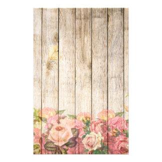 Papelaria Rosas românticos rústicos do vintage de madeira