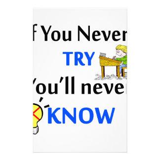 Papelaria Se você nunca tenta você nunca saberá