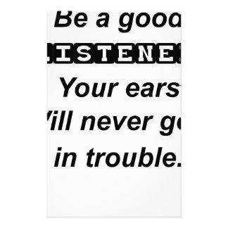 Papelaria seja orelhas boas de um listener.your nunca obterá