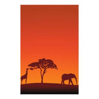 Papelaria Silhueta africana do safari - cabeçalho dos