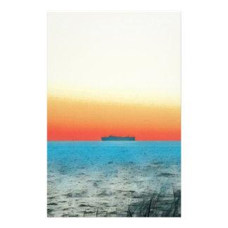 Papelaria Silhueta artística bonito do navio do Seascape