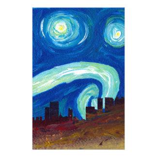 Papelaria Silhueta da skyline de Atlanta com noite estrelado