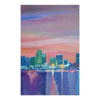 Papelaria Silhueta da skyline de Miami no por do sol em