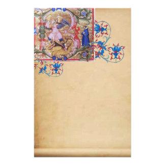 Papelaria St Michael o pergaminho floral da antiguidade do