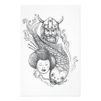 Papelaria Tatuagem da cabeça da gueixa da carpa de Viking