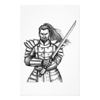 Papelaria Tatuagem da posição da luta do guerreiro do
