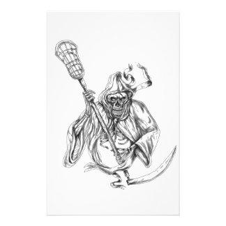 Papelaria Tatuagem de Pólo da defesa do Lacrosse do Ceifador