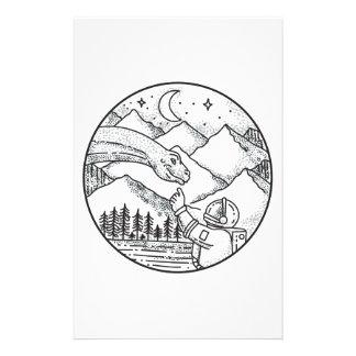Papelaria Tatuagem do círculo da montanha do astronauta do