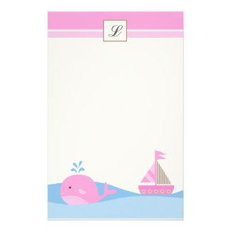 """Papelaria {TBA} 5,5"""" x 8,5"""" baleia cor-de-rosa estacionária"""