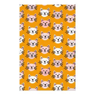 Papelaria Teste padrão bonito do gato na mostarda amarela