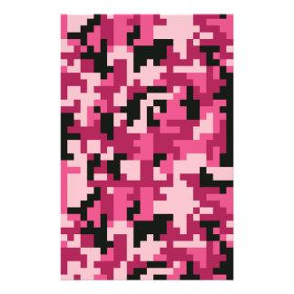 Papelaria Teste padrão cor-de-rosa e preto de Camo do pixel