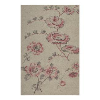 Papelaria Teste padrão de flor cor-de-rosa - francês