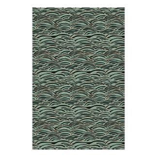 Papelaria Teste padrão de ondas abstrato verde. Textura do