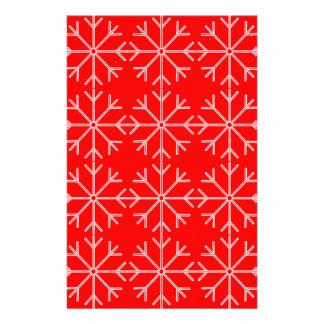 Papelaria Teste padrão do floco de neve - vermelho e branco