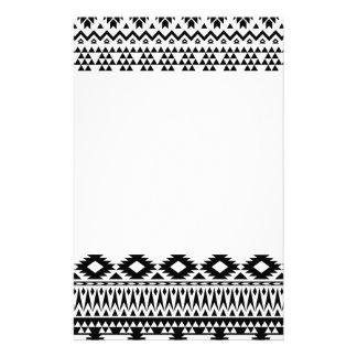 Papelaria Teste padrão geométrico asteca preto e branco do