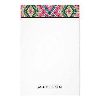 Papelaria Teste padrão tribal abstrato colorido brilhante de