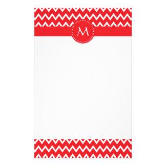 Papelaria Teste padrão vermelho e branco Monogrammed de