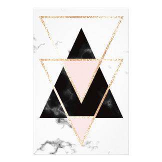 Papelaria Triângulos, ouro, preto, rosa, mármores, colagem,