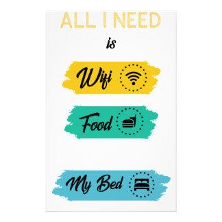 Papelaria Tudo que eu preciso é comida de Wifi & minha cama