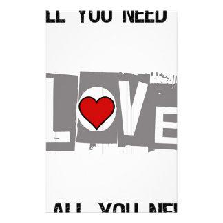 Papelaria Tudo que você precisa é amor é tudo você precisa