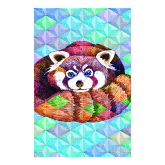 Papelaria Urso de panda vermelha no cubism de turquesa