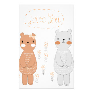 Papelaria Urso de ursinho bonito do casal dos namorados dos