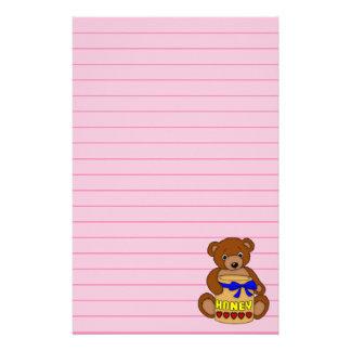 Papelaria Urso de ursinho e frasco do mel