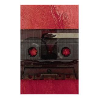 Papelaria Vermelho do vintage da música da cassete de banda