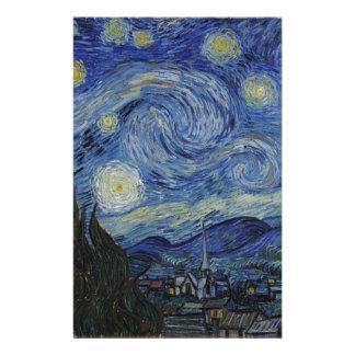 Papelaria Vincent van Gogh - noite estrelado. Pintura da