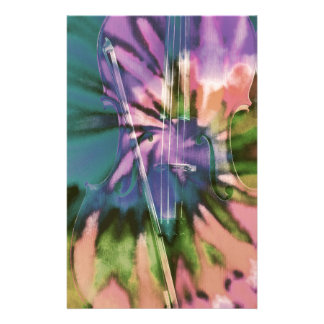 Papelaria Violoncelo colorido psicadélico