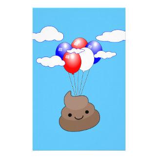 Papelaria Vôo de Poo Emoji com os balões no céu azul