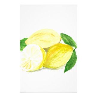 Papelaria Watercolour amarelo da fruta da arte do impressão