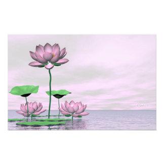Papelaria Waterlilies e flores de lótus cor-de-rosa - 3D