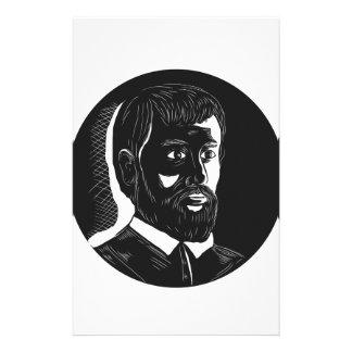 Papelaria Woodcut do círculo de Hernando de Soto Explorador