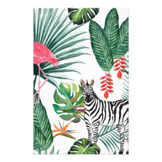 Papelaria Zebra e flamingo tropicais da cópia da aguarela