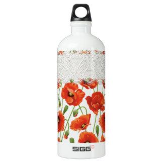 Papoila de florescência vermelha garrafa d'água