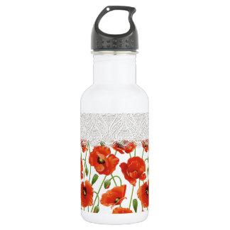 Papoila de florescência vermelha garrafa de aço inoxidável
