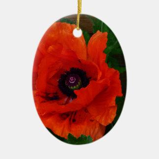 Papoila oriental vermelha ornamento de cerâmica oval