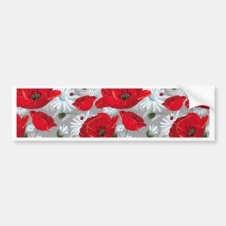 Papoila vermelha bonita, margaridas brancas e adesivo de para-choque