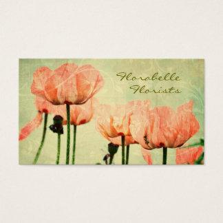 Papoilas cor-de-rosa e redemoinhos florais cartão de visitas