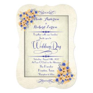 Papoilas do Bluebell e do pêssego que Wedding Convite 12.7 X 17.78cm