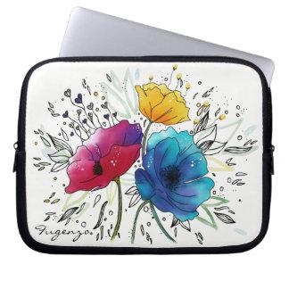 Papoilas feericamente cor-de-rosa & azuis da capa para laptop
