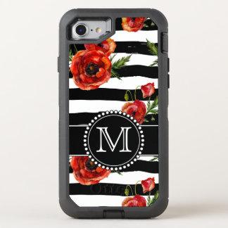 Papoilas preto e branco, vermelhas, floral, capa para iPhone 7 OtterBox defender