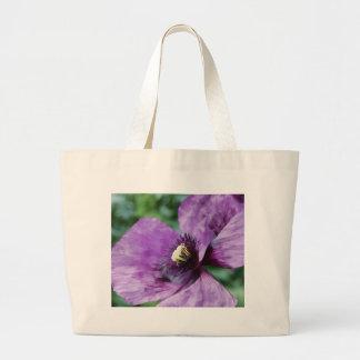Papoilas roxas/violeta sacola tote jumbo